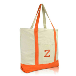 DALIX Initial Tote Bag Personalized Monogram Zippered Top Letter - Z