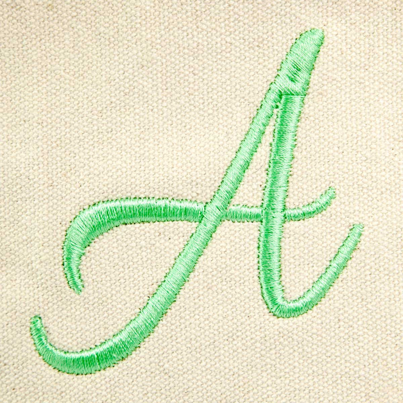 DALIX Personalized Shopping Tote Bag Monogram Mint Green Initial Zippered Letter A-Z