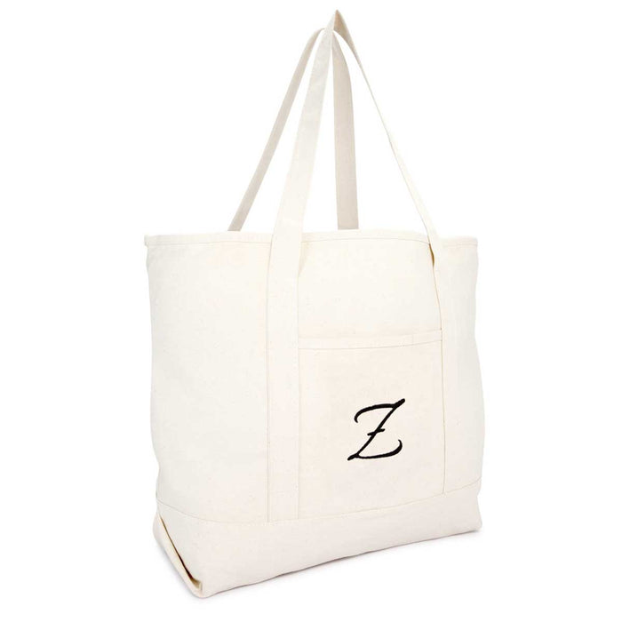DALIX Personalized Shopping Tote Bag Monogram Natural Initial Zippered Letter A-Z