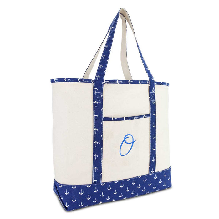 DALIX Large Tote Bag Shoulder Bags Personalized Gifts Ballent Blue Anchor A-Z