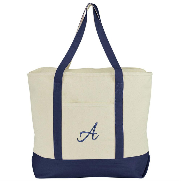 DALIX Personalized Tote Bag Monogram Navy Blue A-Z Bags DALIX