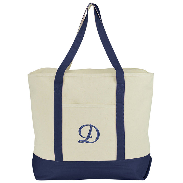 DALIX Personalized Tote Bag Monogram Navy Blue A-Z Bags DALIX D Navy Blue