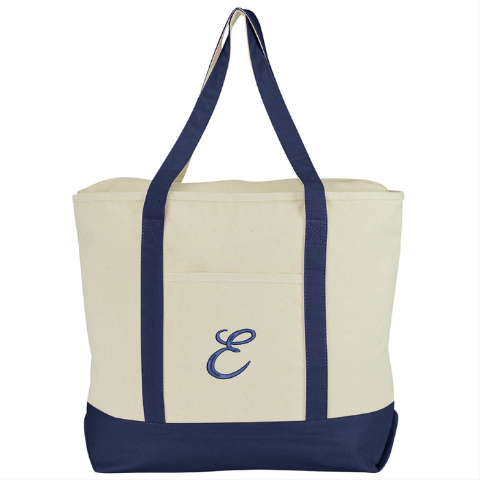 DALIX Personalized Tote Bag Monogram Navy Blue A-Z Bags DALIX E Navy Blue