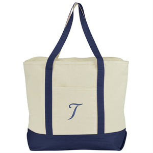 DALIX Personalized Tote Bag Monogram Navy Blue A-Z Bags DALIX T Navy Blue