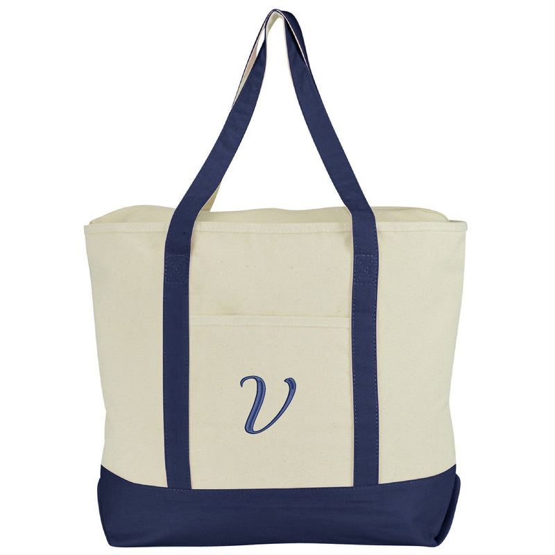 DALIX Personalized Tote Bag Monogram Navy Blue A-Z Bags DALIX V Navy Blue
