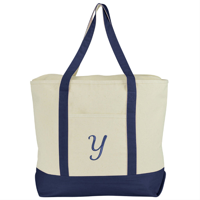 DALIX Personalized Tote Bag Monogram Navy Blue A-Z Bags DALIX Y Navy Blue