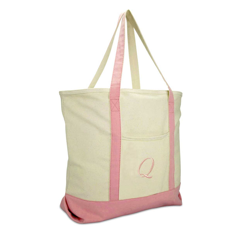 DALIX Personalized Shopping Tote Bag Monogram Pink Initial Zippered Letter A-Z