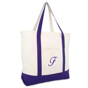 DALIX Personalized Shopping Tote Bag Monogram Purple Initial Zippered Letter A-Z