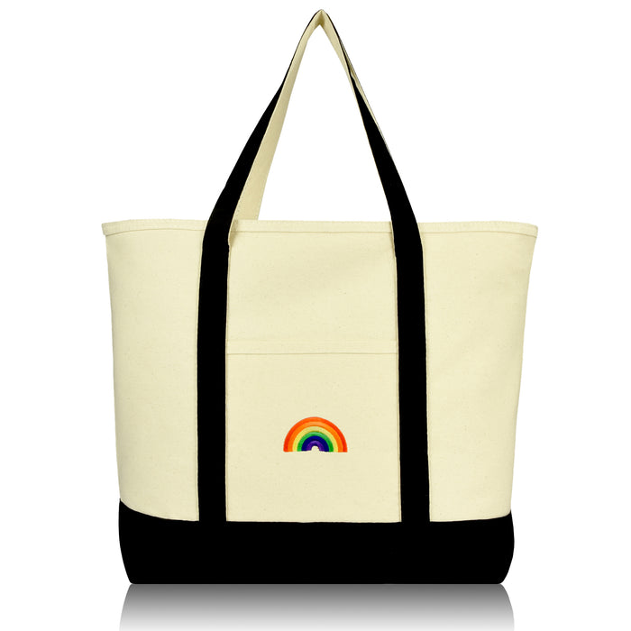 DALIX Cute Rainbow Tote Bag Reusable Grocery Teacher Bags Eco Pride Shopping Totes DALIX