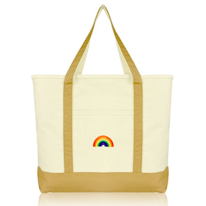 DALIX Cute Rainbow Tote Bag Reusable Grocery Teacher Bags Eco Pride Shopping Totes DALIX Brown