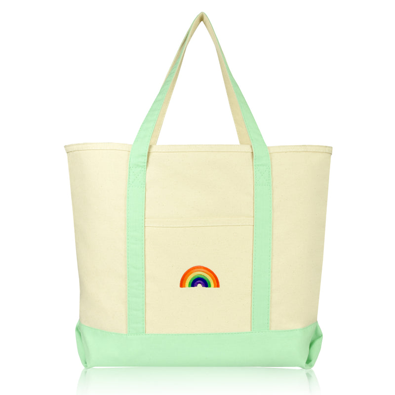DALIX Cute Rainbow Tote Bag Reusable Grocery Teacher Bags Eco Pride Shopping Totes DALIX Mint Green