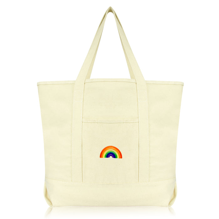DALIX Cute Rainbow Tote Bag Reusable Grocery Teacher Bags Eco Pride Shopping Totes DALIX Natural
