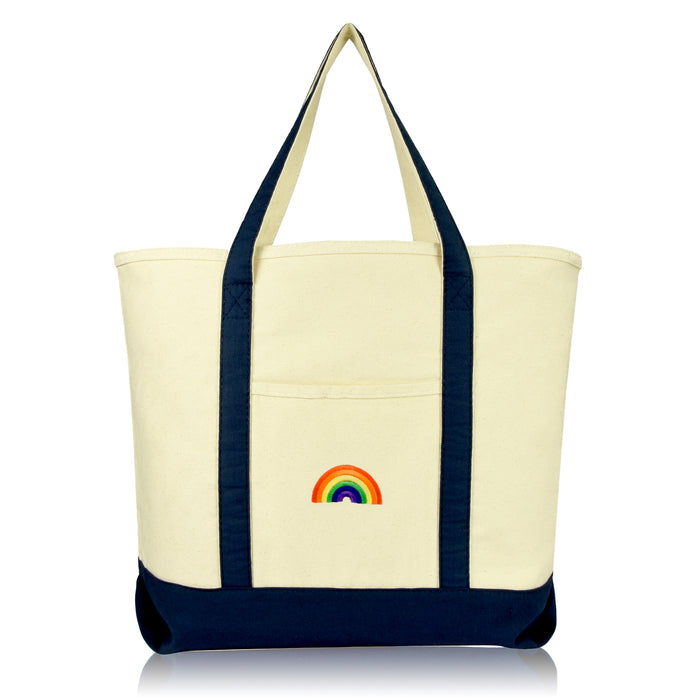 DALIX Cute Rainbow Tote Bag Reusable Grocery Teacher Bags Eco Pride Shopping Totes DALIX Navy Blue