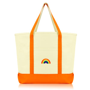 DALIX Cute Rainbow Tote Bag Reusable Grocery Teacher Bags Eco Pride Shopping Totes DALIX Orange