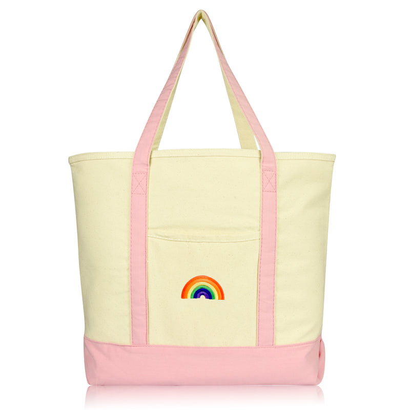 DALIX Cute Rainbow Tote Bag Reusable Grocery Teacher Bags Eco Pride Shopping Totes DALIX Pink