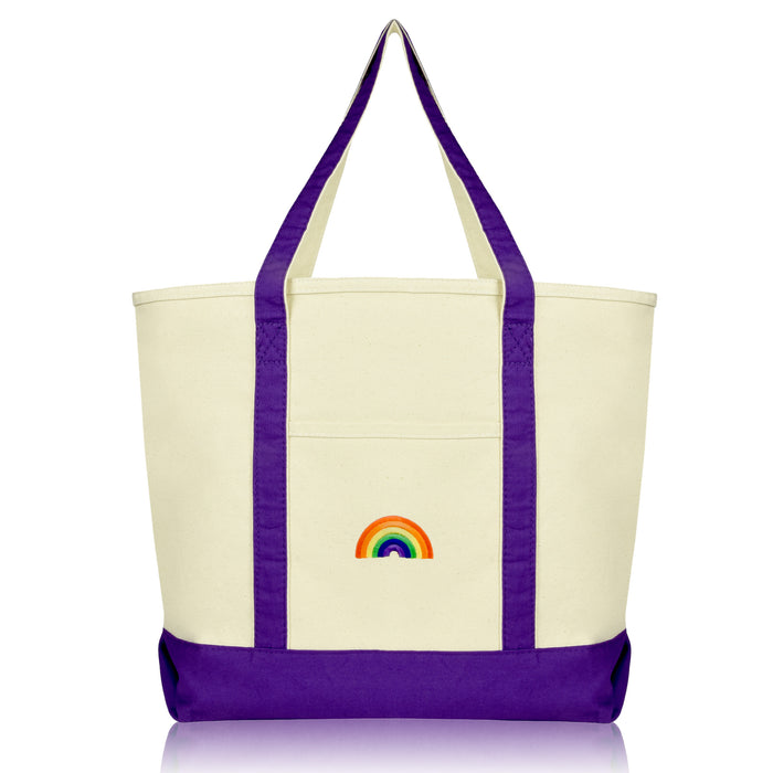 DALIX Cute Rainbow Tote Bag Reusable Grocery Teacher Bags Eco Pride Shopping Totes DALIX Purple