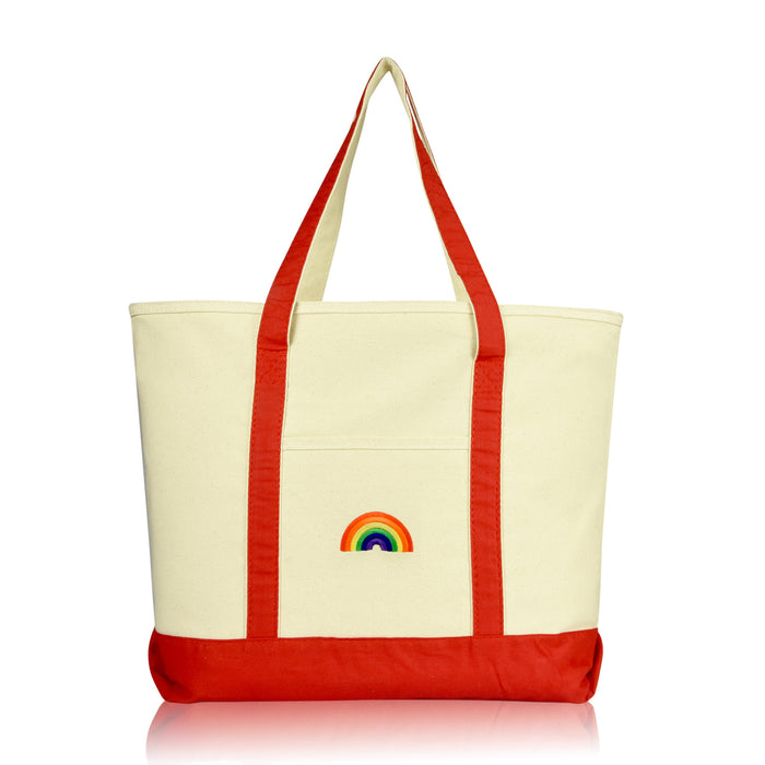 DALIX Cute Rainbow Tote Bag Reusable Grocery Teacher Bags Eco Pride Shopping Totes DALIX Red