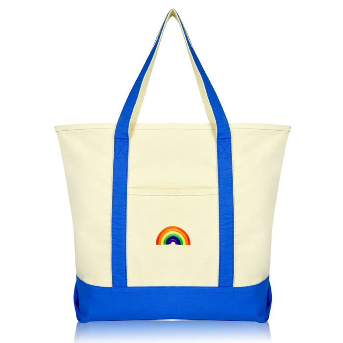 DALIX Cute Rainbow Tote Bag Reusable Grocery Teacher Bags Eco Pride Shopping Totes DALIX Royal Blue