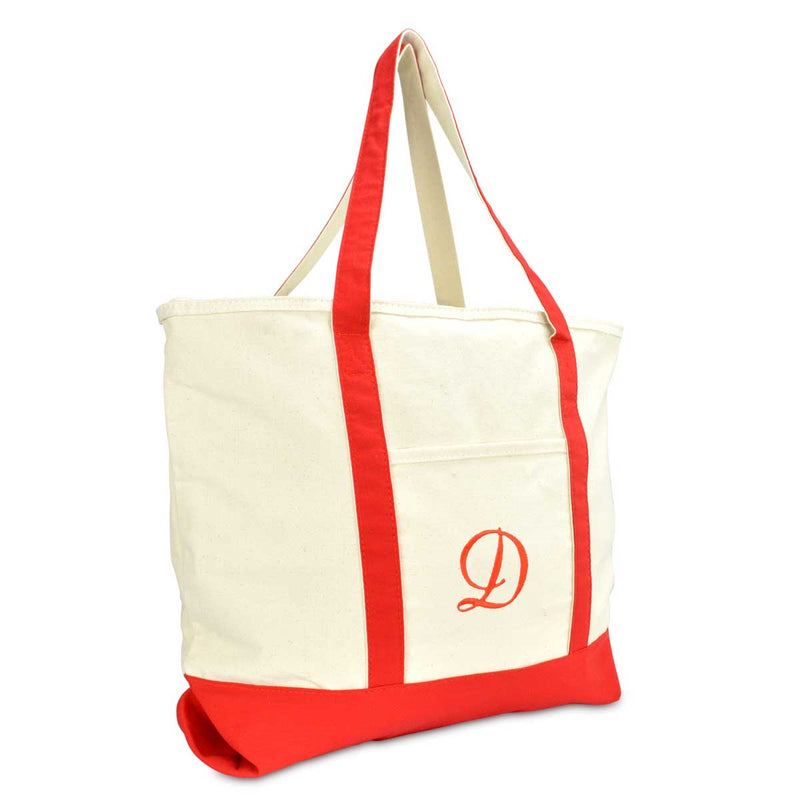 DALIX Personalized Shopping Tote Bag Monogram Red Initial Zippered Letter A-Z