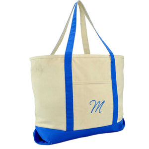 DALIX Personalized Shopping Tote Bag Monogram Royal Blue Initial Zippered Letter A-Z