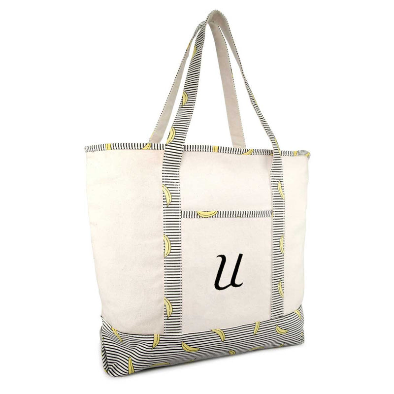 DALIX Personalized Shopping Tote Bag Monogram Initial Zippered Letter A-Z Banana