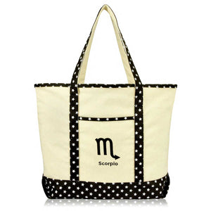 DALIX Black Star Zodiac Sign Shopping Tote Bag Horoscope Gifts