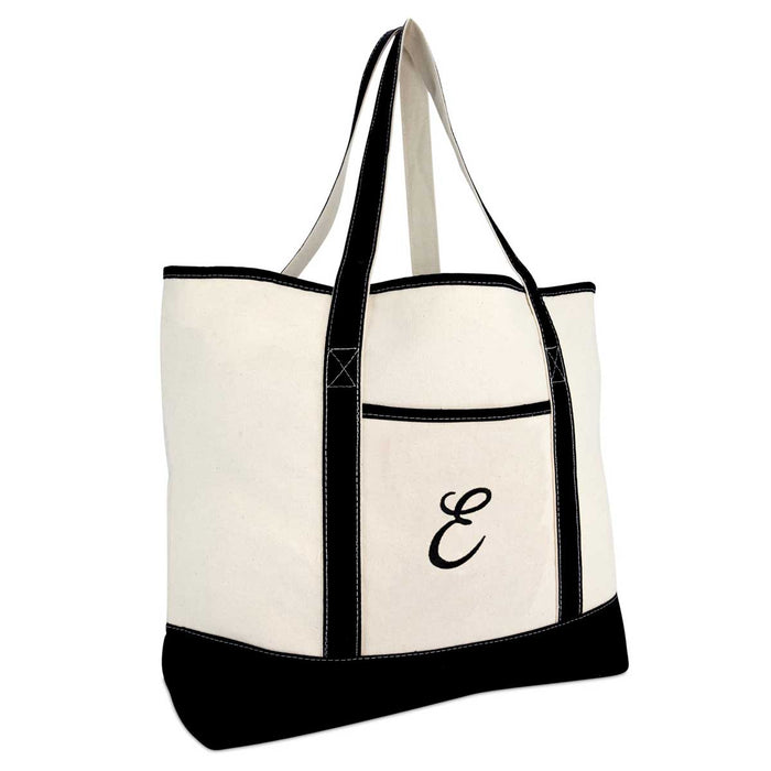 DALIX Monogram Bag Personalized Totes For Women Open Top Black Letter A-Z