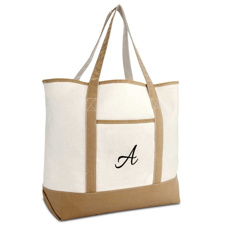 DALIX Women's Natural Tote Bag Shoulder Bags Brown With Monogram Letter A-Z