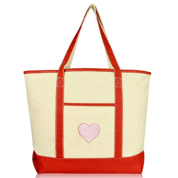 DALIX Filigree Heart Embroidered Tote Bag Natural Canvas