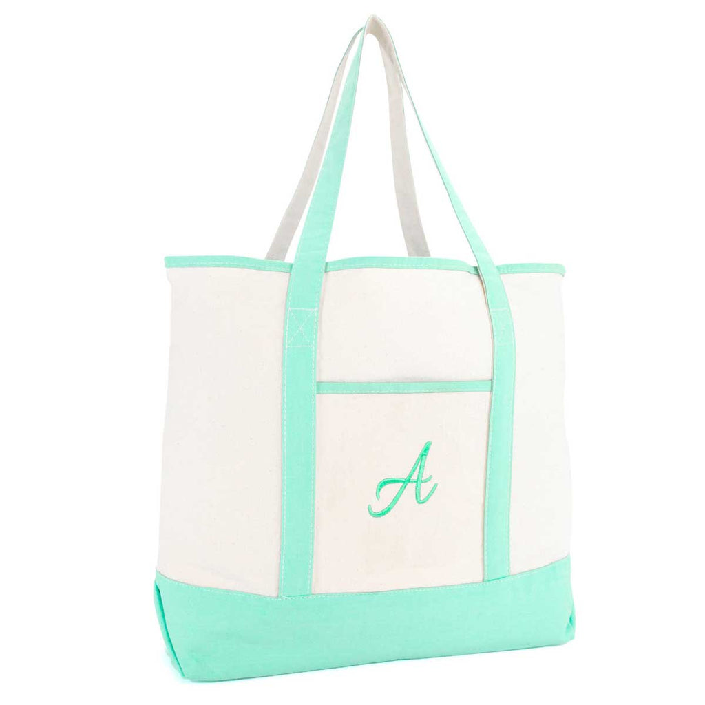 DALIX Monogram Tote Bag For Women Open Top Mint Green Personalized Letter A-Z