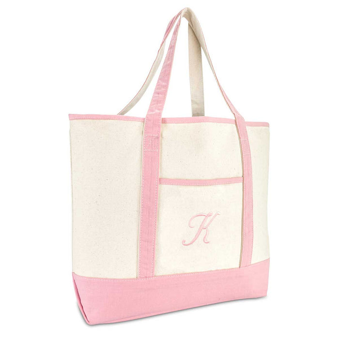 DALIX Women's Cotton Canvas Tote Bag Large Shoulder Bags Pink Monogram A-Z