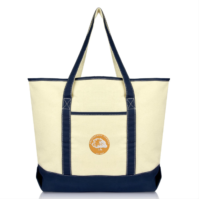 Polytechnic School Deluxe Tote Bag with Open Top and Front Pocket in Navy Blue