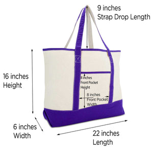 DALIX Women's Canvas Tote Bag Shoulder Bags Open Top Purple Monogram A-Z