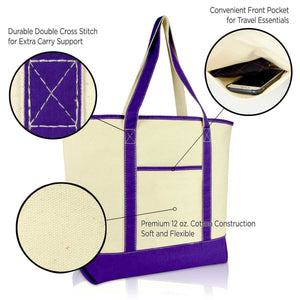 "DALIX 22"" Open Top Heavy Duty Deluxe Tote Bag with Outer Pocket"