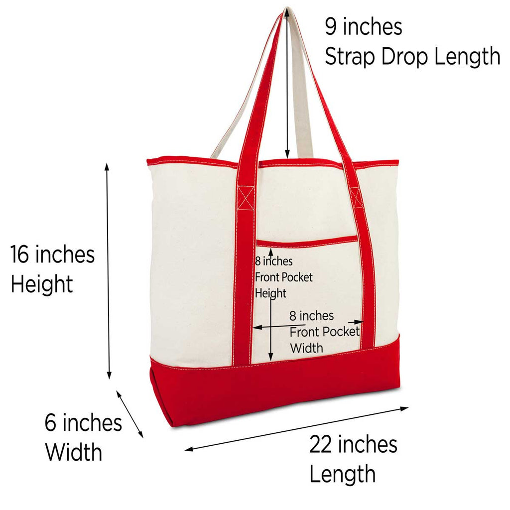 DALIX Monogram Bag Personalized Tote For Women Open Top Red Initial A-Z