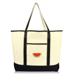 DALIX Tote Bag Reusable Grocery Natural Canvas Fruits