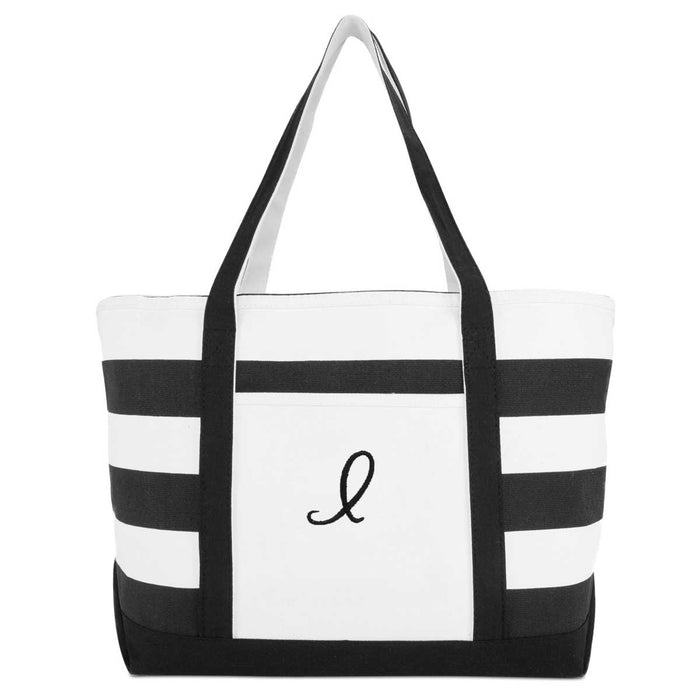 DALIX Striped Beach Bag Tote Bags Canvas Personalized Black Ballent Letter A - Z