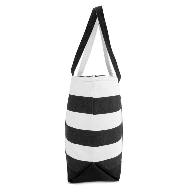 "DALIX 23"" Striped Boat Bag Premium Cotton Canvas Tote"