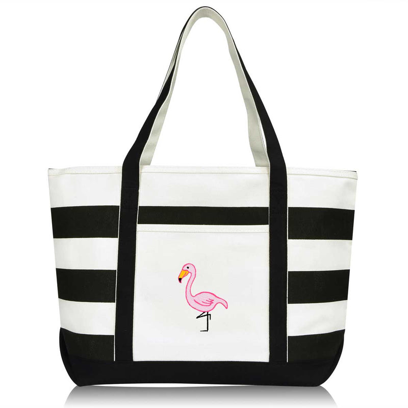 DALIX Flamingo Striped Canvas Tote Bag Premium Cotton