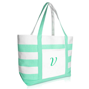 DALIX Monogram Beach Bag and Totes for Women Personalized Gifts Mint Green A-Z
