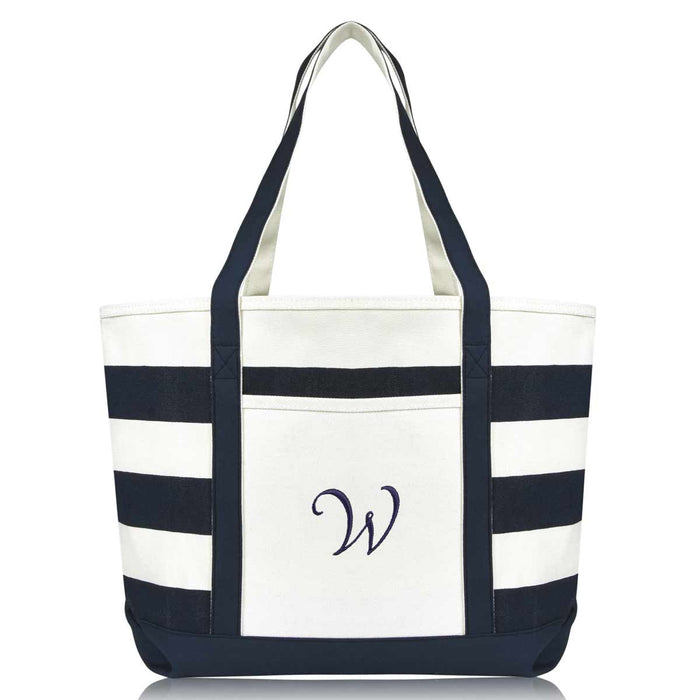 DALIX Premium Beach Bags Striped Navy Blue Zippered Tote Bag Monogrammed A-Z