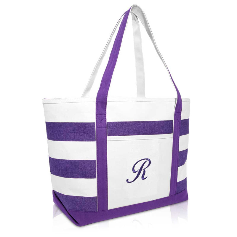 DALIX Monogrammed Beach Bag and Totes for Women Personalized Gifts Purple A-Z