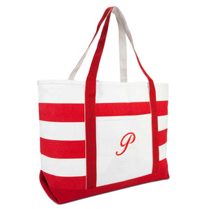 DALIX Beach Tote Bag Shoulder Bags Striped Monogrammed Red Ballent Letter A-Z
