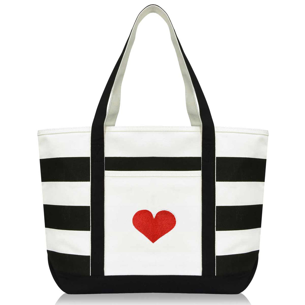 DALIX Big Heart Womens Embroidered Striped Tote Bag Premium Cotton