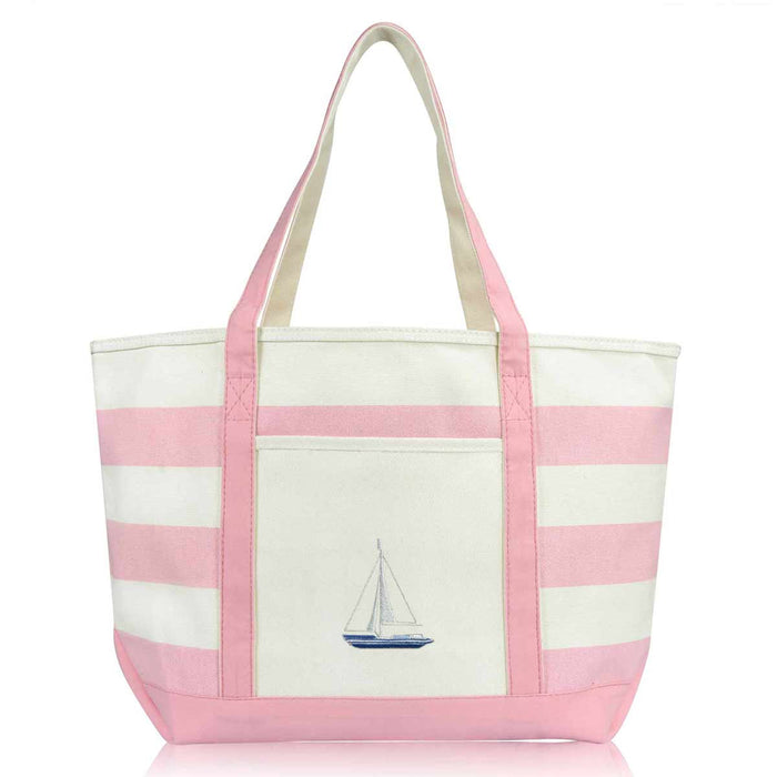 DALIX Ocean Sailboat Womens Embroidered Striped Beach Tote Bag Cotton