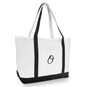 DALIX Premium Women's Tote Bags Large Tote Bag Personalized Gifts Black A-Z