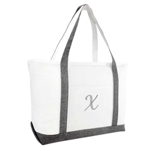 DALIX Gray Beach Tote Bag Personalized Gifts Women Shoulder Bags Letter A-Z
