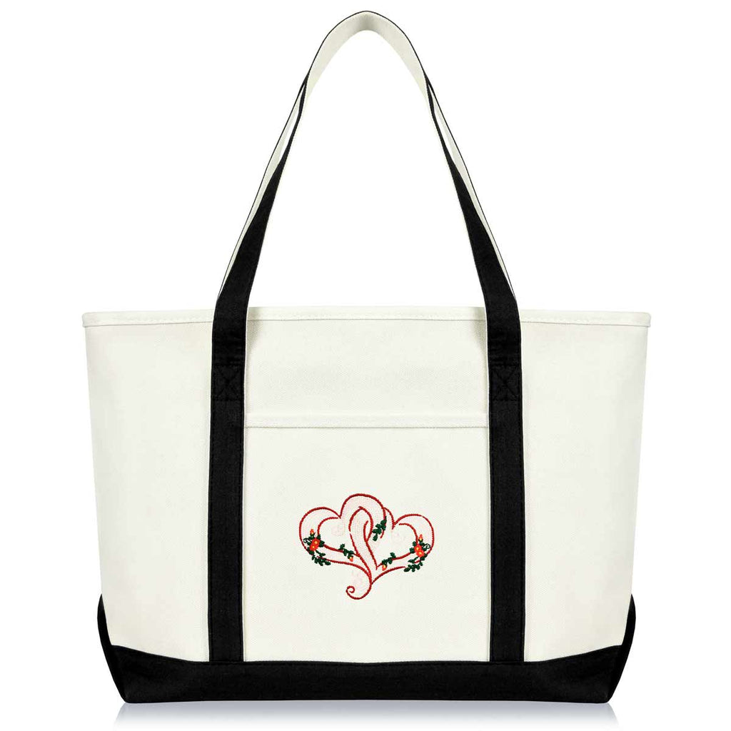 DALIX Knotted Heart Embroidered Women's Premium Tote Bag Shoulder Bags