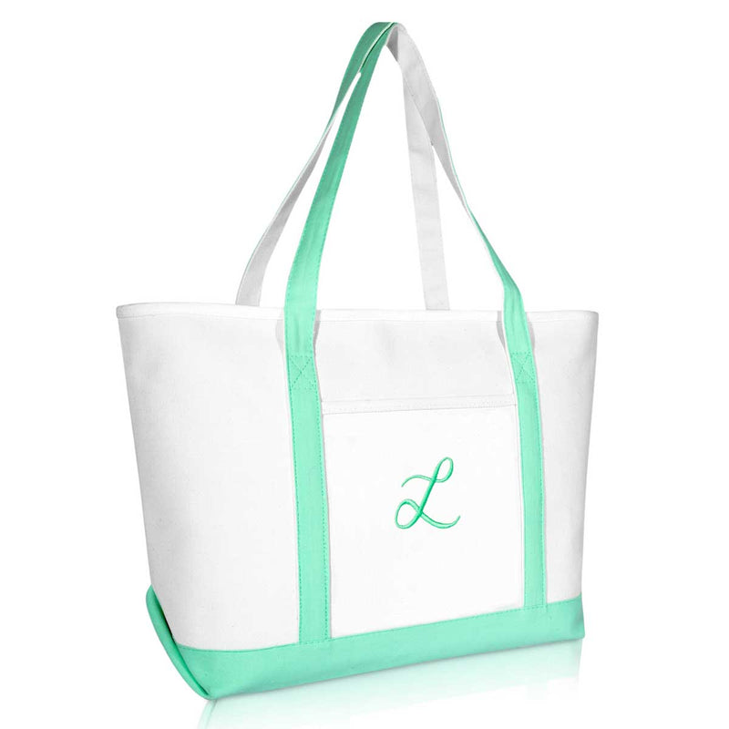 DALIX Women's Premium Tote Bag Shoulder Bags Monogrammed Mint Green A-Z