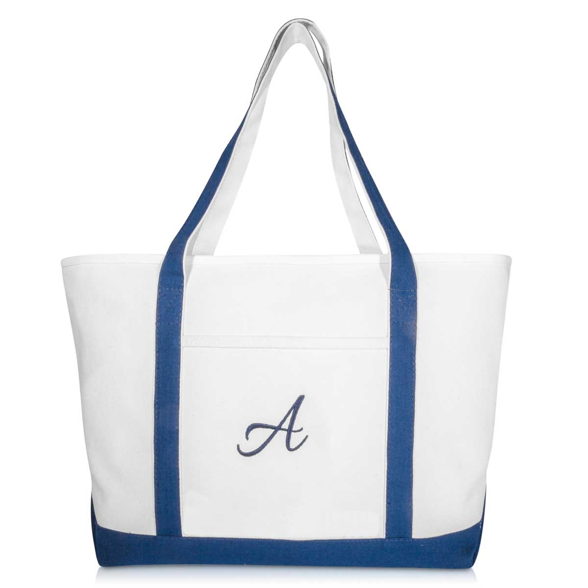 a24352c673 DALIX Quality Canvas Tote Bags Large Beach Bags Navy Blue Monogrammed A-Z